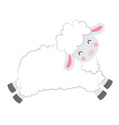 Cartoon smiling white sheep jumping on vector