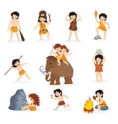 Caveman kids primitive children character vector