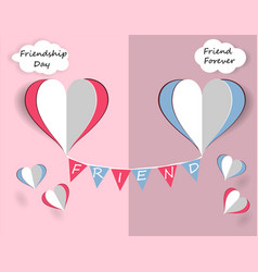 children s card for friendship day hearts of vector image