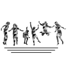 children silhouettes in black and white vector image