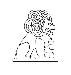 Chinese lion statue isolated icon vector