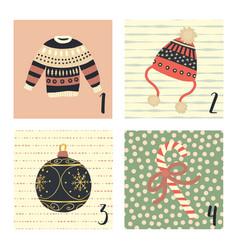 Christmas advent calendar hand drawn vector