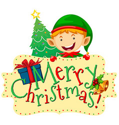 Christmas theme with elf and christmas tree vector