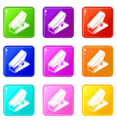 Clothespin icons set 9 color collection vector