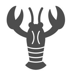 Crayfish solid icon crustacean vector