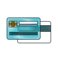 Credit card both sides in colored crayon vector