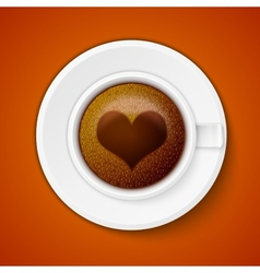 Cup of coffee with heart vector