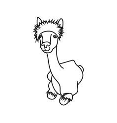 Cute character lying alpaca vector