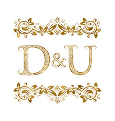 D and u vintage initials logo symbol the letters vector