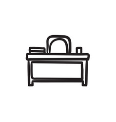 Desk and chair sketch icon vector