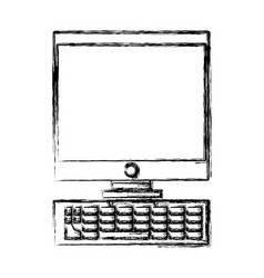 desk computer technology vector image