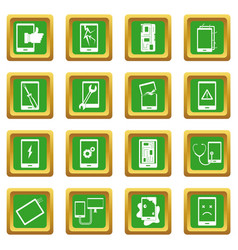 Device repair symbols icons set green vector
