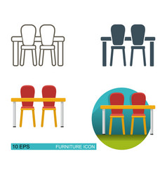 Dining table and chairs icons vector