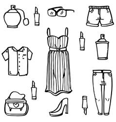 Doodle set of women clothes vector