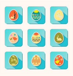 Easter eggs icons of different hue set vector