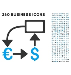 Euro dollar flow chart icon with flat set vector