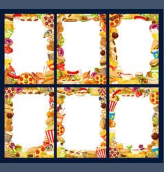 fast food menu frames of burgers and snacks vector image