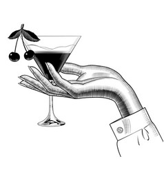 Female hand holding a cone glass with a herry vector