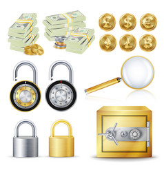 Finance secure concept gold coins money vector