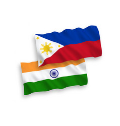 Flags india and philippines on a white vector