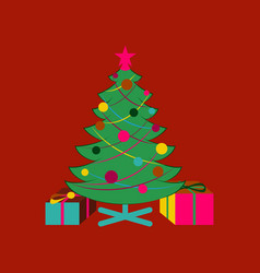 Flat on background of christmas tree gifts vector