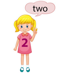 Girl showing number two vector