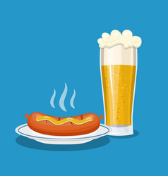 glass mug of beer and plate with sausage vector image