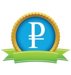 Gold ruble logo vector