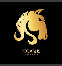 golden pegasus horse icon hand drawn art pattern vector image