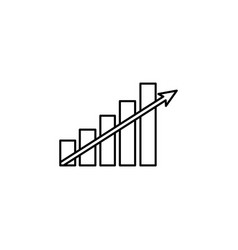 growing graph line icon black on white vector image