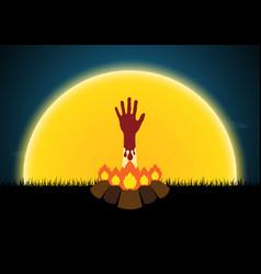 Halloween blood hand bonfire moon vector