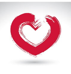 Hand drawn red love heart icon brush drawing vector image