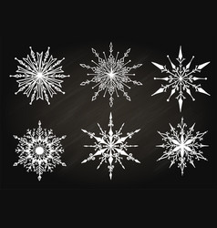 hand drawn snowflake on chalkboard vector image