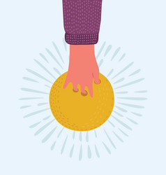 hand with a bowling ball vector image