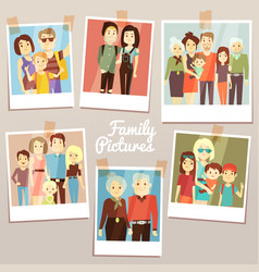 Happy family pictures with different generations vector
