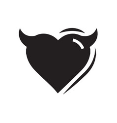 Heart of devil love black color vector
