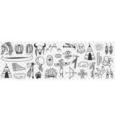 indian tribe symbols doodle set vector image