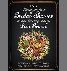 invitation template with beautiful wedding vector image