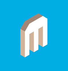 isometric letter m vector image