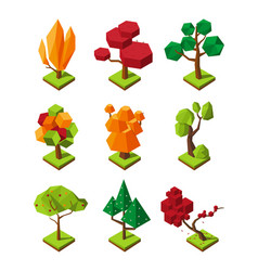 isometric polygonal trees 3d trees isolate vector image