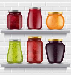 Jam food shelves fruits marmalade delicious vector