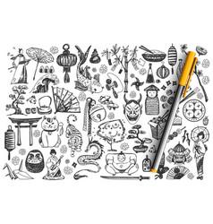 japan hand drawn doodle set vector image
