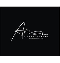 Letter am signature logo template vector