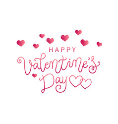 lettering of happy valentines day with hearts vector image