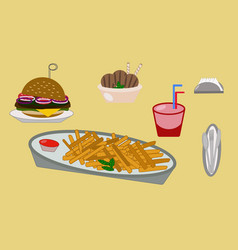 lunch drink burger ice cream napkin french fries vector image