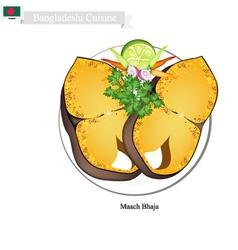 Maach bhaja or delicious bangladeshi fried fish vector