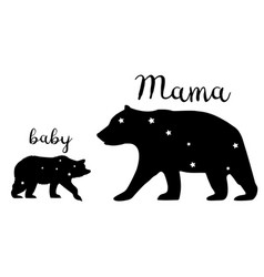 Mama bear and baby bear vector