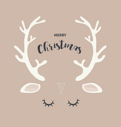 Merry christmas greeting card with abstract deer vector