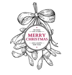 mistletoe with bow and ribbon christmas card vector image