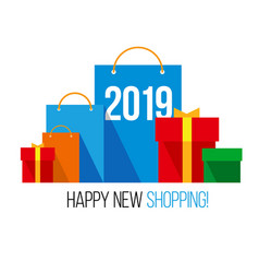 New year shopping set of flat bags vector